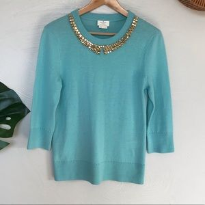 Kate Spade Living Colorfully Aqua Sweater, Large